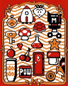 The Essentials for Fun (Super Mario Bros. 2 inspired Silkscreen Print) - x Hama Beads Minecraft, Perler Beads, Super Mario Bros, Super Mario World, The Legend Of Zelda, Retro Video Games, Video Game Art, Mario Brothers, Viewtiful Joe