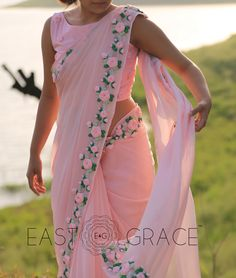 Presenting the Pink Rose. This ethereal frosted baby pink chiffon saree is… Saree Blouse Patterns, Saree Blouse Designs, Chiffon Saree, Silk Chiffon, Indian Gowns Dresses, Saree Trends, Saree Models, Stylish Sarees, Saree Look