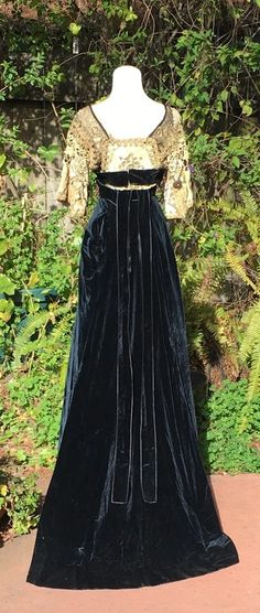 1908 1910 Worth Paquin Era Couture Ballgown Evening Dress Gold Lame Lace
