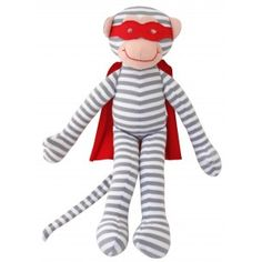 Beautiful, soft Alimrose Super Hero Monkey Toy Rattle with Grey Stripes, red cape and red Super Hero mask. The perfect size for baby to hold and keep them entertained for hours. Baby Boy Gifts, Gifts For Boys, Stylish Boys, Lil Baby, Baby Store, Baby Boutique, Boy Fashion, Tigger, Smurfs