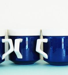 Midnight Blue Vintage Mikasa Coffee Cups / Set of 3 Retro Coffee Mugs / Mod Ceramic Coffee Mugs