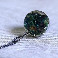 Resin Necklace with Green Mineral Oxidize Silver Chain
