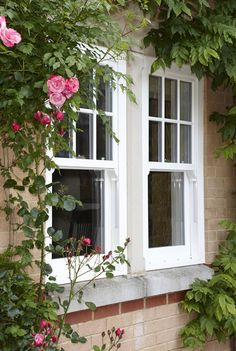 Example of classic style w/top only grid REHAU uPVC Sliding Sash Windows - beautifully styled Rehau Windows, Upvc Sash Windows, Cottage Windows, Sliding Windows, House Windows, Front Windows, Coloured Upvc Windows, Plastic Windows, Window Grids