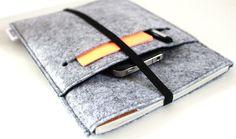 iPad Mini Sleeve/ Mini iPad / iPad Mini Case Organizer- Black and Light Grey felt. $36.00, via Etsy.