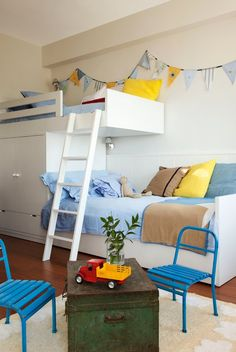 love this for Caid's room. one part as a little cozy reading spot, the other for sleeping