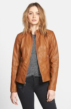 GUESS Faux Leather Scuba Jacket available at #Nordstrom