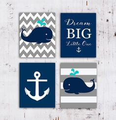 50% Off SALE.Nautical Nursery Whale nursery art print, navy and ...