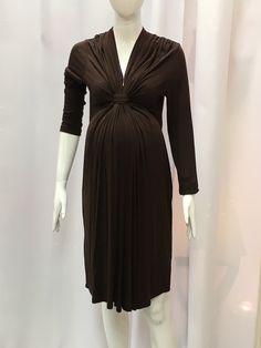 Olian Brown Front Twist Knot Dress