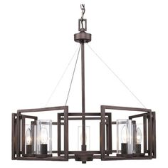 Cast a warm glow in your entryway or living room with this lovely chandelier, showcasing a gunmetal bronze finish and geometric design.