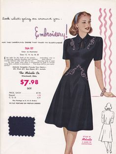 Discover recipes, home ideas, style inspiration and other ideas to try. Women's Dresses, 1940s Dresses, Vintage Dresses, Vintage Outfits, Vintage Clothing, 1940s Fashion, Trendy Fashion, Fashion Models, Vintage Fashion