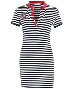 Mulheres+Vestido+Bainha+Vintage+/+Moda+de+Rua+Listrado+Acima+do+Joelho+Colarinho+de+Camisa+Poliéster+–+USD+$+12.99