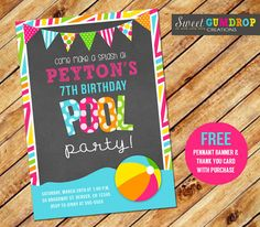 Chalkboard Pool Party Birthday Invitation in Pink  by SweetGumdrop