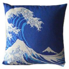 Amazon.com - Japan Retro Yamato-e Works Wave Blue White Throw ...