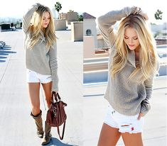 grey turtleneck + white frayed denim shorts + boots