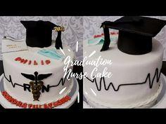 How To Make Graduation Cake   Nurse Cake - YouTube Nursing Graduation Cakes, College Graduation Parties, Cake Youtube, Cake Creations, Gum Paste, Frosting, Fondant, Medical, Paper