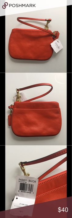 NWT Coach Orange Small Wristlet Lovely soft leather wristlet  Authentic Coach Coach Bags Clutches & Wristlets