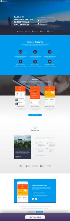 Landing page design with full-screen slider