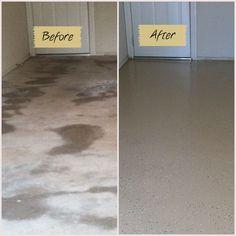 Before and after garage floor using Quickcrete garage floor epoxy kit.. Well worth it!