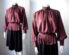 SOLD Vintage Emanuel Ungaro Parallele plum silk Bianca blouse by StardustVintagestore, £60.00