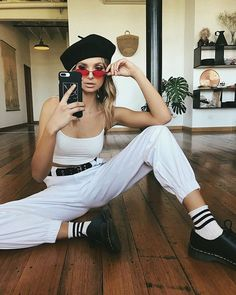 All White Outfit, White Outfits, Beret Outfit, Aesthetic Clothes, Fashion  Killa, Fashion 2018, Vous Etes, Crew Socks, Melbourne 5e9e641cc60