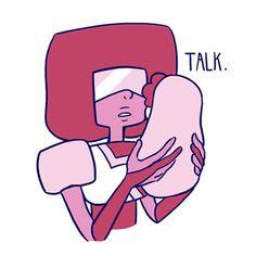 """Garnet as Steven's mother. """"Talk. C'mon talk. Just talk. It's not that hard, just talk."""""""