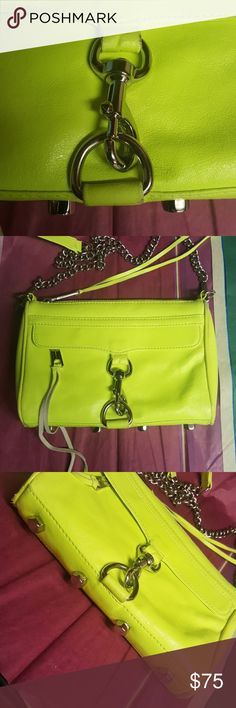 Authentic Rebecca Minkoff firm Neon yellow,silver tone hardware, used on a daily basis take a very good look at all 8 pictures selling as is price firm, pop of color for your wardrobe favorites Rebecca Minkoff Bags Crossbody Bags