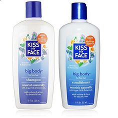 Hair Vitamins - Kiss My Face All Natural Organic Big Body Shampoo and Conditioner With Moroccan Argan Oil For Hair, Vitamin E, Sage, Lavender, Green Tea, Chamomile and Eucalyptus For All Hair Types, 11 fl. oz. each - essential-organic...