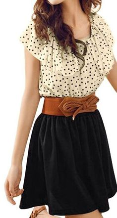 Scoop Neck Dotted Shirred Waist Dress. Very cute outfit it just needs to be lengthened.
