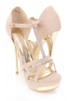 Taupe Rhinestone T Strappy High Heels Faux Suede