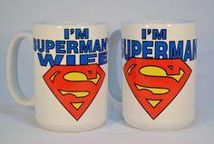 I'm superman and I'm superman's wife mug,superman mug,funny mugs,funny coffee… Funny Coffee Mugs, Coffee Humor, Funny Mugs, Funny Gifts, Superhero Superman, Superman Art, Superman Girlfriend, Wedding Mugs, Gift Wedding