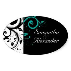Black and White with Teal Reverse Swirl Oval Stickers