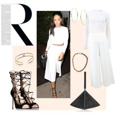 Rihanna in Los Angeles, California by avia-k on Polyvore featuring mode, STELLA McCARTNEY, Gianvito Rossi, Givenchy, Rosantica, Michael Kors, GetTheLook, StreetStyle, StellaMcCartney and Rihanna