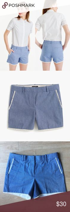 J Crew Frayed Chambray Tailored Shorts Size 8 Excellent Condition. Like new! J crew Chambray blue shorts. Frayed trim detail. Clean tailored fit with front tab closure. Perfect for warm spring days. 100% Cotton. Style number E9557 J. Crew Shorts
