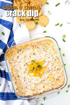 If you are looking for a great dip to make for your next get together, you need to try this Warm & Cheesy Crack Dip! It's super easy to make & so delicious!