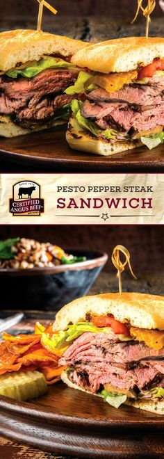 Certified Angus Beef®️️️️️ brand Pesto Pepper Steak Sandwich is a SHOW STOPPER of a sandwich! The best strip roast is brushed with olive oil and generously seasoned, then thinly sliced along with eggplant, roasted red peppers, goat or cream cheese, and a TASTY fig spread! Put it all on a ciabatta or hoagie bun for an UNBEATABLE sandwich recipe.   #bestangusbeef #certifiedangusbeef #beefrecipe #easyrecipes #sandwich