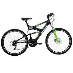 Kawasaki DX Full Suspension Mountain Bike 26 inch Wheels 19 inch Frame Mens Bike BlackGreen ** Read more  at the image link.