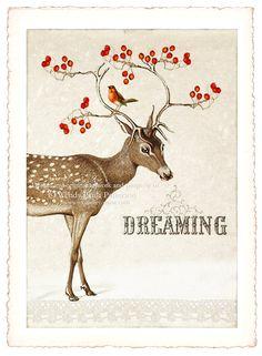 vintage Christmas reindeer and red berries #christmas #vintage #reindeer