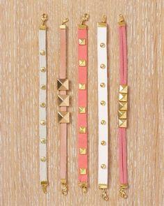 DIY studded Thin Bracelets via Martha Stewart.