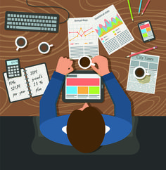 Creative office working design vector set 03