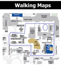 Find #Walking maps of different areas around the #UMich Health System and Campus