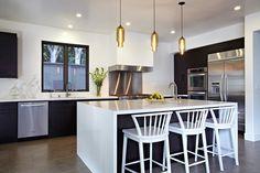 ikea spanish kitchen | Pod Pendants in Amber over kitchen island