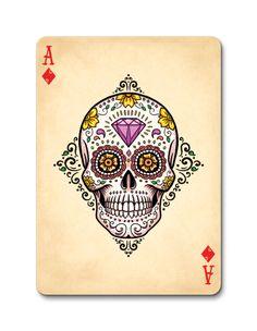 .retratskciK no srehtorB ygdDia de los muertos bicycle playing cards by  E Sugar Skull Ace of Diamonds