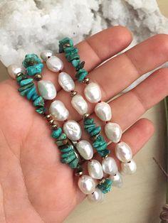 Süßwasserperle weiß und Türkis Halskette Hand geknotete
