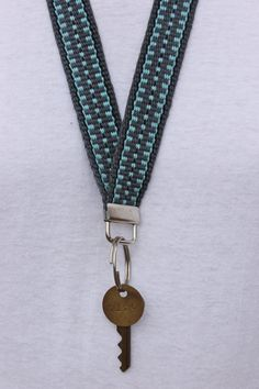 ID Badge Holder. Woven Lanyard.  Key Holder Necklace. Handmade. One of a Kind. Cotton.
