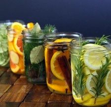 Natural Air Freshners: In a pint jar,combine, 1 orange-sliced, 2 tsp. ground cinnamon ,1/8 tsp. ground cloves, ½ TBS whole allspice or ¼ tsp. ground allspice and 1 anise star (optional.)  Cover with water.  You can use right away or you can keep in the fridge for 1 to 2 weeks or can be frozen for up to a month. When you're ready to use, (defrost if frozen) microwave for 1:30-2:00 minutes and enjoy.May be refrig betwn uses. Reuse for 2-3 days, or as long as they still have a pleasant…