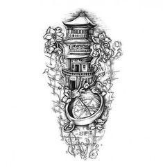 The Path Of Death Tattoo Sleeve Design - Tattoos Forarm Tattoos, New Tattoos, Sleeve Tattoos, Tattoos For Guys, Tattoos For Women, Tatto Design, Compass Tattoo Design, Sketch Tattoo Design, Design Tattoos