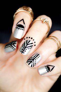 Black & SIlver nail art, cuticle art: Used: Severina Soft Silver, Isadora 191 Black Lacquer, RuNail dotting tool and nail art brush, and SoNailiciousBoutique jewellery. Latest Nail Designs, Simple Nail Designs, Nail Art Designs, Beautiful Nail Art, Gorgeous Nails, Diy Nails, Cute Nails, Cuticle Tattoos, Silver Nail Art
