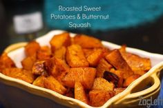 Oven roasted Sweet Potatoes and Butternut Squash with Cinnamon, Turmeric and Ginger.  A pretty and flavorful side dish…