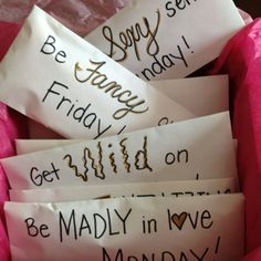 "Here's a cute and special bachelorette gift idea.  Purchase seven unique pairs of underwear, one for each day of the week.  Place each pair in a different envelope.  Write a catchy phrase that matches the style of the underwear on the outside of the envelope.  Some ideas maybe ""be madly in love on Monday,"" ""get wild on Wednesday,"" and ""be your sexy self on Saturday.""  Put all of the envelopes in a box such as Victoria's Secret and finish with a cute ribbon!!"