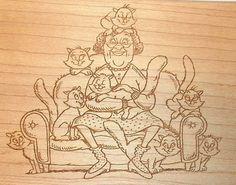 Diamonds  Cat Lady rubber stamp M777 Funny pets Senior humor Wood Mounted EUC #Diamonds #Womanladycatsfelines
